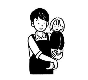 子どもを抱っこする男性保育士のイラスト 白黒