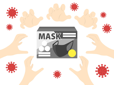 マスクの買い占め問題のイラスト