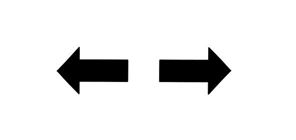 分かれ道をイメージした左右の矢印のシルエット