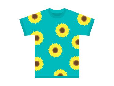 ヒマワリ柄のTシャツのイラスト