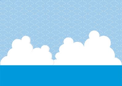 海と雲と連続模様の背景のイラスト