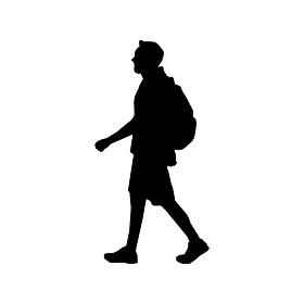 歩いている人物・歩行者 全身(横向き)シルエットイラスト/ カバンを背負っている人