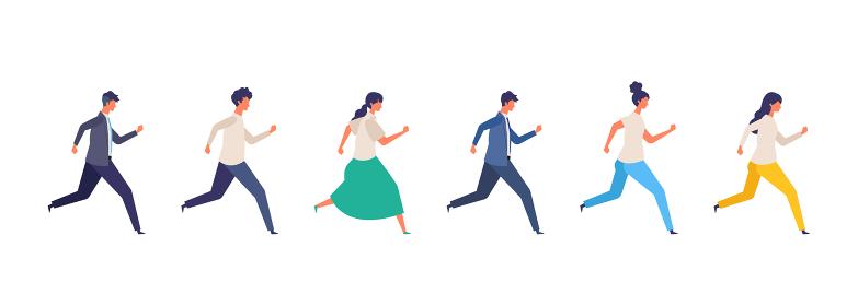 走る様々な人物の全身像のイラスト