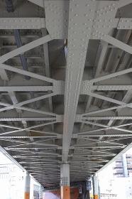 鉄道のガード下の鉄骨の骨組み