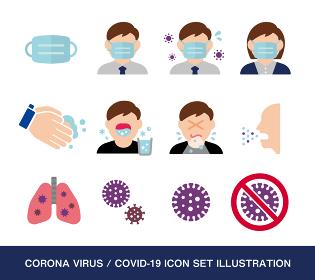 新型コロナウイルス (Covid-19) / インフルエンザ・感染症 ベクターアイコンセット