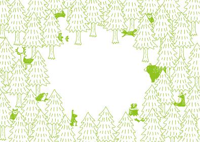 森の動物たち イラスト グリーン