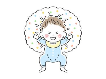 授乳クッションで寝転んでいるご機嫌な赤ちゃんのイラスト