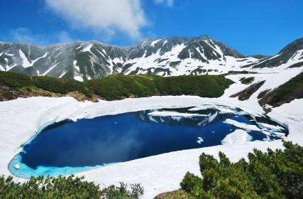 雪解けのみくりが池 北アルプス 立山連峰