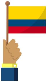 手持ち国旗イラスト ( 愛国心・イベント・お祝い・デモ ) / コロンビア