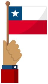 手持ち国旗イラスト ( 愛国心・イベント・お祝い・デモ ) / チリ