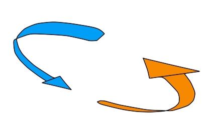 ループをイメージした絞りのある矢印「黒淵あり」