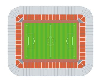 サッカー フットボール スタジアム グランドの俯瞰のイラスト観客席あり