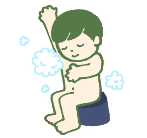 体を洗う人