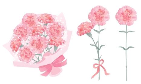 母の日のピンクのカーネーションの花束や一輪と二輪のセット