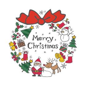クリスマス素材のリース(サンタクロース、クリスマスツリー、トナカイ、雪だるま)