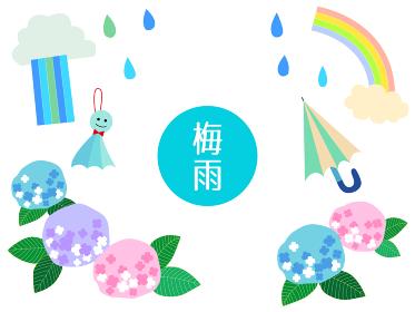 梅雨 あじさいと雨のイラスト