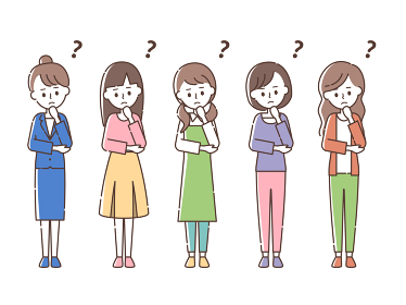 何かを考える5人の女性