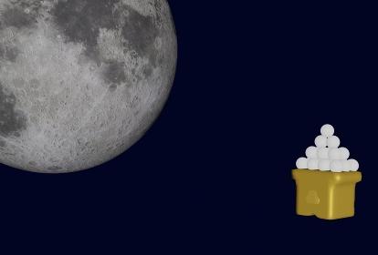 十五夜の満月、3Dレンダリング