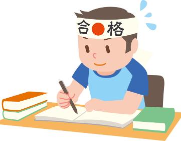 受験勉強する男の子夏