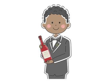 ワインを紹介する黒人男性ソムリエのイラスト