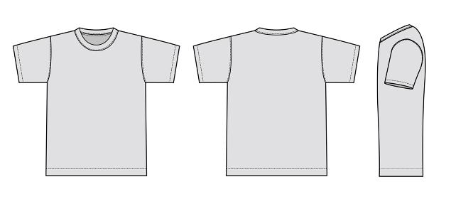 アパレルテンプレート / 半袖Tシャツ べクターイラストセット(フロント・バック・サイド)
