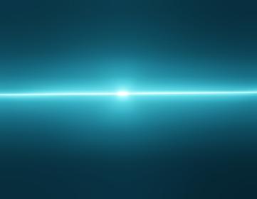 宇宙に光る水色の光、3Dレンダリング