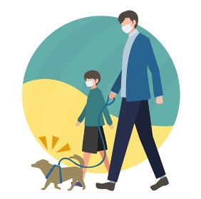 マスクを着用して散歩する親子・兄弟のイメージ フラットデザイン ベクター