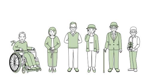 シニア 高齢者 老夫婦 人々 男女 全身 イラスト素材