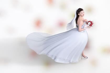 綺麗なレースの純白のウエディングドレスを着た花嫁がブーケを持ちヴァージンロードを歩く