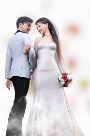 笑顔の新郎とブーケを持つ純白のウエディングドレスを着た新婦