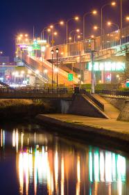 小倉を流れる紫川の夜景 (福岡県北九州市)