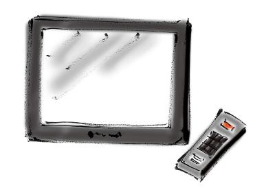 手描きイラスト素材 テレビ TV 大画面 リモコン
