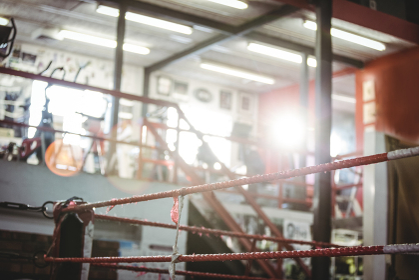 Boxing ring in fitness studio