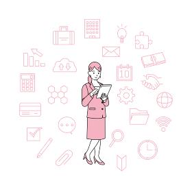 タブレットを使う ビジネスウーマン 女性 会社員 ビジネス アイコン セット イラスト素材