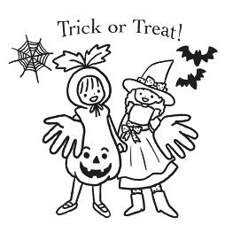 ハロウィンの仮装をした女の子の線画イラスト
