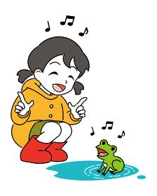 レインコートを着た女の子とカエル
