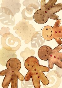手をつなぐジンジャーマンクッキーの水彩イラスト