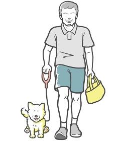 犬の散歩をする中年男性