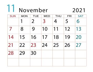 2021年 カレンダー 11月 その2