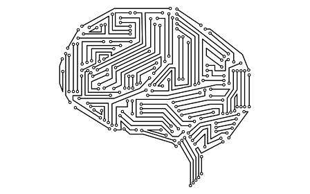 白黒の人工知能(AI)をイメージした脳の形をした電子回路