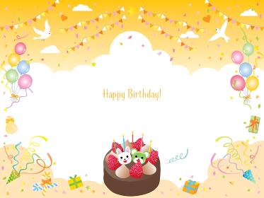 風船やケーキやフラッグのオレンジ色のお誕生日フレーム