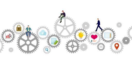 ギア・歯車と人々の日常 (IT・テクノロジー・ビジネスイメージ)ベクターイラスト
