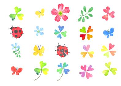 水彩で描いた春のイラストセット
