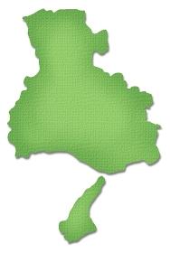 ペーパークラフト調の兵庫県の地図