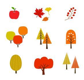 秋の紅葉や木々アイコンセット 手描き
