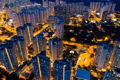 Wong Tai Sin, Hong Kong, 06 Septemer 2018:- Aerial view of Hong Kong city at night