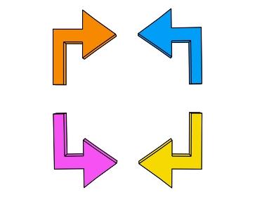 正面から見た向き合う矢印「黒淵あり」
