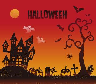 ハロウィンのお化け屋敷とお化けカボチャのイラスト