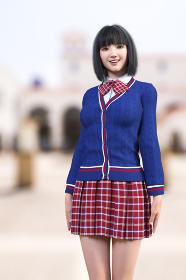 学校の中庭で赤いチェックスカートの制服の笑顔のボブヘアの女子高生がキレイな姿勢で立っている