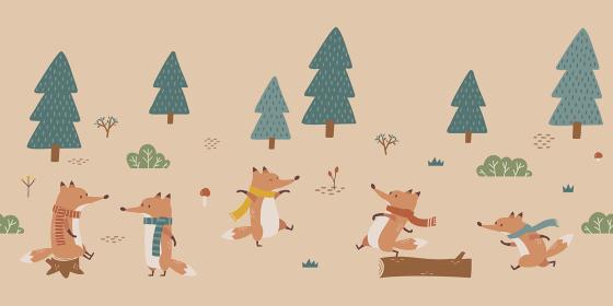 シームレスな秋の背景素材。森で遊ぶマフラーをつけたキツネたち